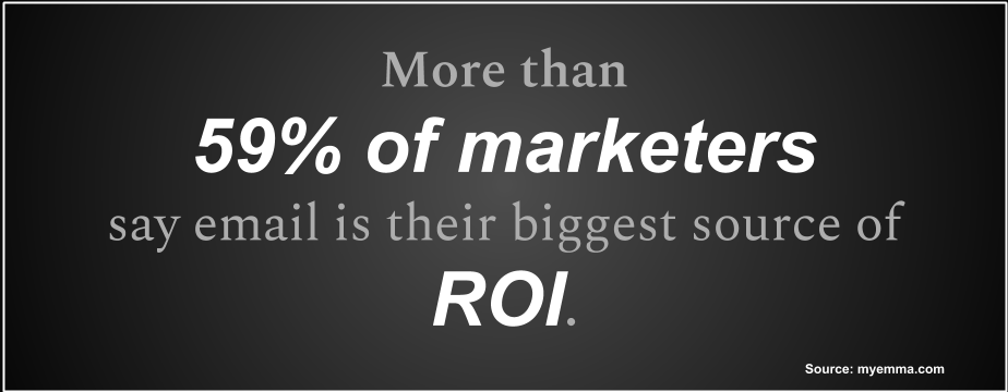 More than  59% of marketers  say email is their biggest source of ROI.
